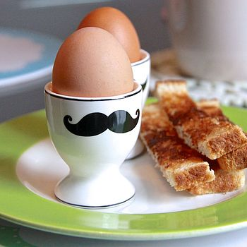 Set Of Two Moustache Egg Cups