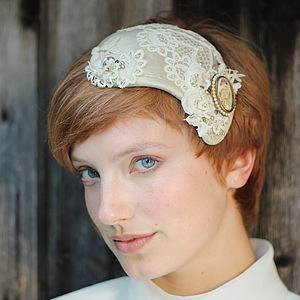 Bridal Vintage Lace And Pearl Headdress - hats & fascinators