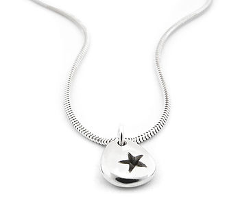 Pebble Star, Heart, Flower Or Kiss Necklace