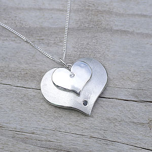 Double Heart Pendant With Diamonds - necklaces & pendants