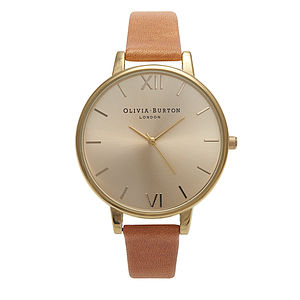 Gold Big Dial Watch   Tan - watches