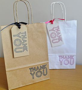 Thank You Gift Bag And Tag : Two Sizes