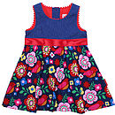 Cord Multiflower Bird Party Dress