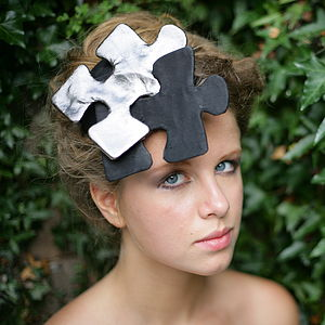 Puzzled Leather Headdress - hats & fascinators
