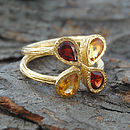 Garnet, Citrine Gold Teardrop Stacking Ring