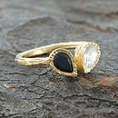Spinel And Topaz Gold Teardrop Stacking Ring