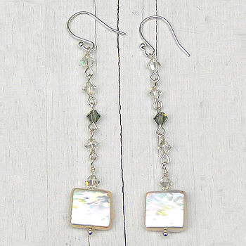 Square Fresh Water Coin Pearl Earrings