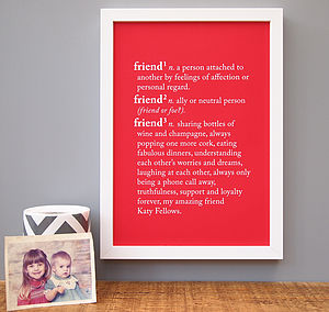 Personalised 'Friend' Dictionary Print - living room