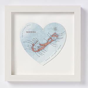 Bermuda Map Heart Print