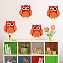 Owl Fabric Wall Stickers - Red