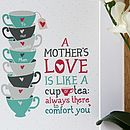 'A Mother's Love' Print - teal/grey - personalised