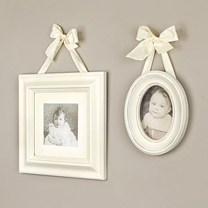 Cream Photo Frames With Ribbon - picture frames