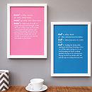 Personalised Mum And Dad Dictionary Print