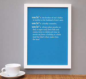 Personalised Auntie / Uncle Dictionary Print - living room
