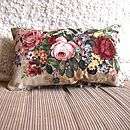 Vintage Fabric Oblong Cushion In Vintage Rose