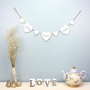 Home Sweet Home Hearts Garland - outdoor decorations