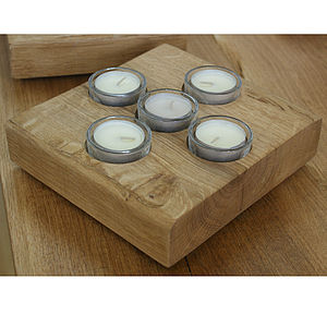 Oak And Iron Five Tea Light Candle Holder - room decorations