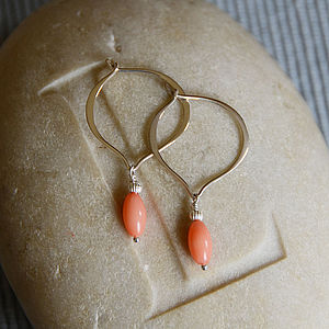 Coral And Silver Hoop Earrings - earrings