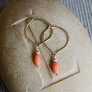 Coral And Silver Hoop Earrings