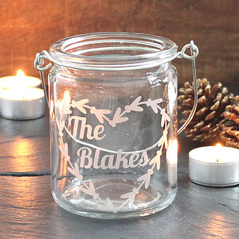 Personalised Name Christmas Tea Light Holder