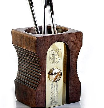 Giant Dark Wood Pencil Sharpener Desk Tidy