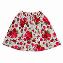 Girl's Unlined Red Roses Skirt