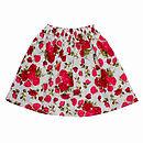 Girl's Unlined Red Roses Skirt