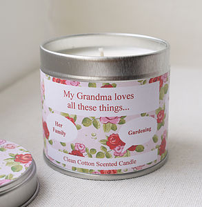 Personalised 'Grandma' Loves Candle - bedroom