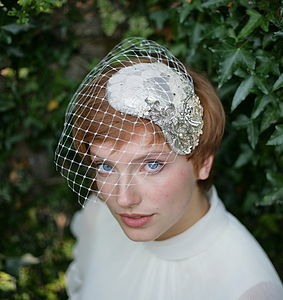 Vintage Inspired Bridal Headdress With Veil - wedding fashion