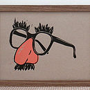Joke Shop Glasses And Mustache Linocut Print