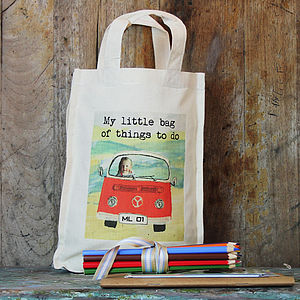 Personalised Children's Campervan Activity Bag - wedding day activities