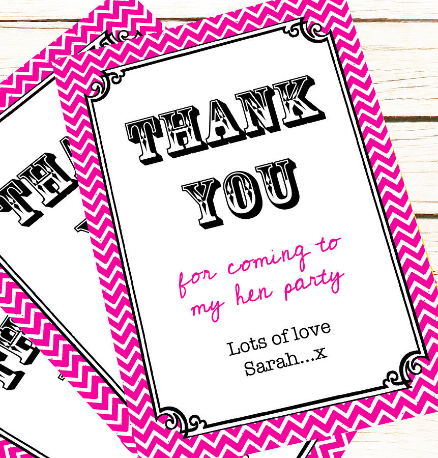hen party and wedding 'thank you' card by precious little plum ...