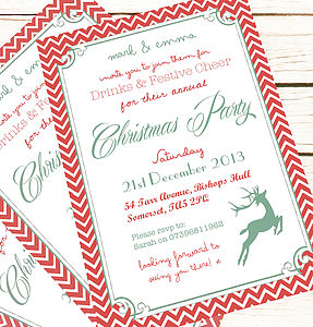 Personalised 'Christmas Party' Invitations - cards & wrap
