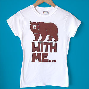 Women's Fitted T Shirt 'Bear With Me' Tee - tops & t-shirts
