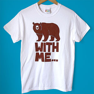 Men's T Shirt Handprinted 'Bear With Me' Tee