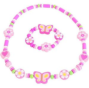Pink Butterfly Childrens Jewellery Set - necklaces