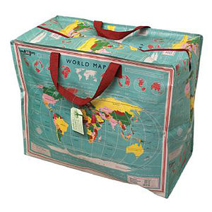 Vintage 'World Map' Storage/Beach Bag - storage bags