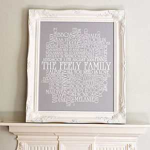 Personalised Family Memories Word Artwork - family & home