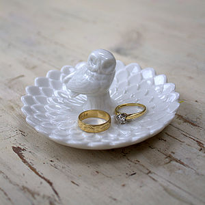 Ceramic Owl And Petal Ring Dish - jewellery & trinket boxes