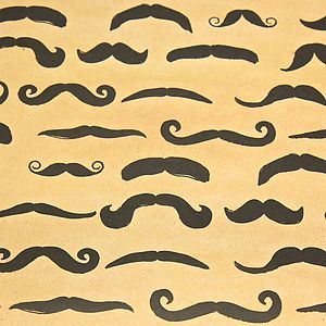'Funky' Moustache Gift Wrap - ribbon & wrap