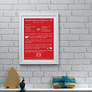Personalised Cooking Recipe Print - Red and White