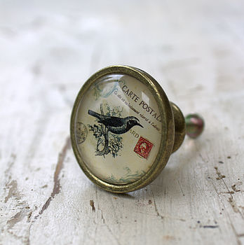 Vintage Postcard Bird Drawer Knob