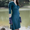 Jersey wraparound dress in teal