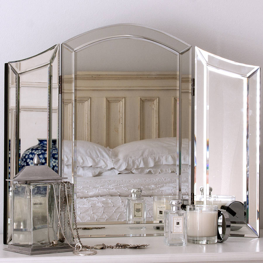 All glass dressing table mirror by decorative mirrors for Wall table with mirror