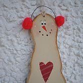 Christmas Wooden Snowman Ornament - christmas decorations