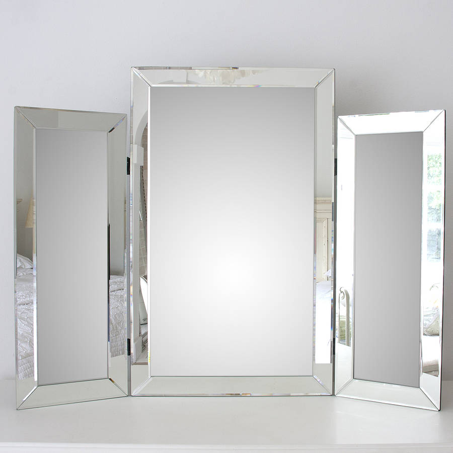 Large bevelled dressing table triple mirror by decorative