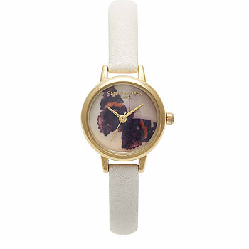Mini woodland small faced watch - mink butterfly face