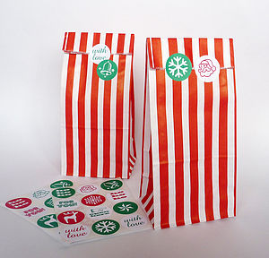 Tall Christmas Party Bags And Stickers - cards & wrap