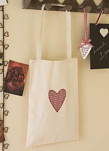 100% Cotton Gingham Heart Shopping Bag