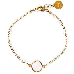 Crystal Quartz And 14k Gold Fill Bracelet